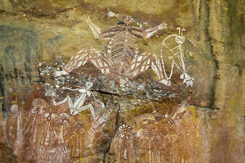 Rock art figures at Nourlangie Rock in Kakadu